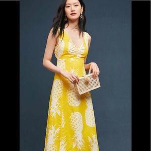 Anthro Pineapple midi dress
